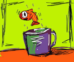 Goldfish leaps out of coffee mug