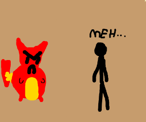 Devil Pikachu Surprises Uninterested StickMan