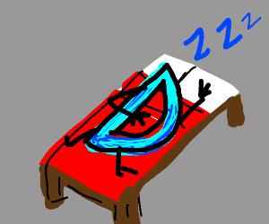 Drawception D sleeping in a Minecraft bed