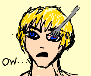 blonde guy with a fork in the eye