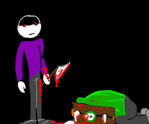 Purple shirt guy decapitates Green shirt guy