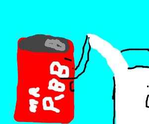 MrPibb can bullies glass of milk