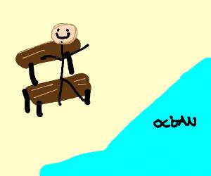 Happy guy on beach, calm ocean