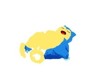 Blue pokémon sleeping in snow...