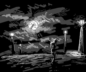 Man in the moonlight