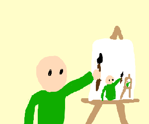a painter painting himself painting