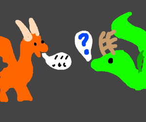 orange and green dragons speaking cinese