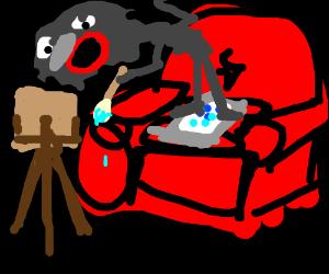 Dark figure on sofa paints and talks on phone