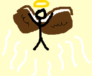A stick man with a book as wings