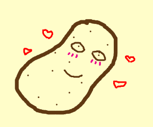 cute potato with pink cheeks