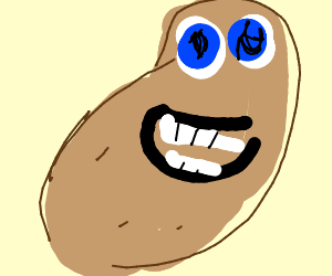 happy blue eyed potato
