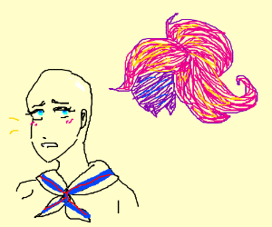 Anime girl with no hair and a wig in the sky.