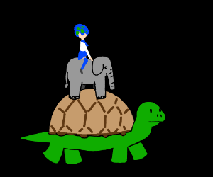 Earth-chan riding an elephant riding a turtle