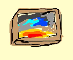 A sun rising in a box