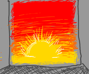 sunset painting in the middle of a grey wall