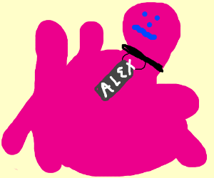 pink blob with alex name tag