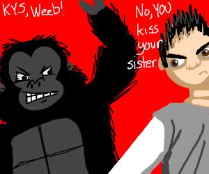 "Ape sez ""KYS Weeb""; Actual human schools ape."