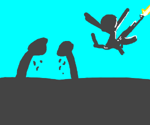Two crying silhouettes, one happy