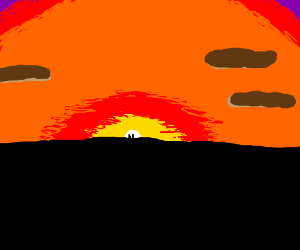 2 silhouettes in front of beautiful sunset