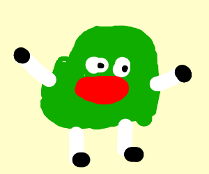 green blob with white legs