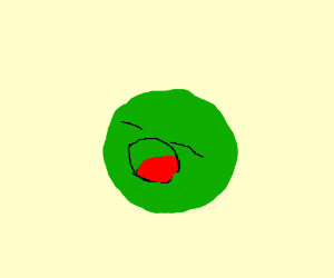 green ball that is alive and yawning