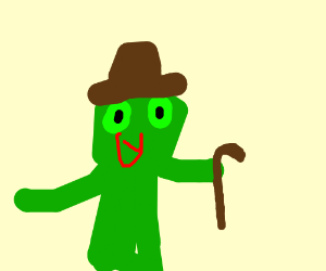 frog man with top hat and cane dancing