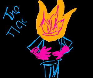 the Tick bursting into flames with pink gloves