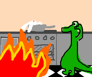 lizard set fire to kitchen and rabbit is anger