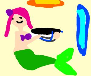 Mermaid with a portal gun