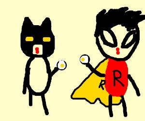 batman and robin eating eggs - i guess ...
