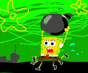 Spongebob taking trash out FOR THE KRUSTY KRAB