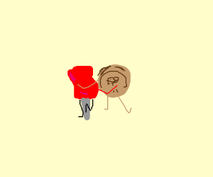 Red tack being loved by a happy coin