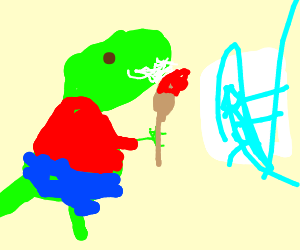 Dinosaur in clothes doesn't know how to draw.