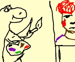 an dinosaur that paints well