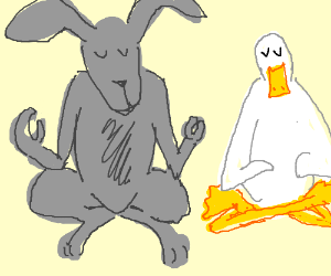 A duck and Rabbit acheive enlightment