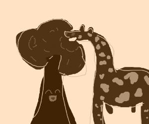 giraffe eating a happy little tree