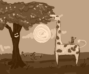 Giraffe eats happy tree