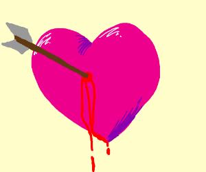 you shot an arrow through my heart drawing by ievaldraws drawception
