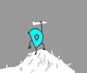 drawception standing on a pile of bones