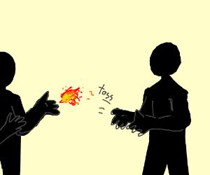 Silhouette people toss fire