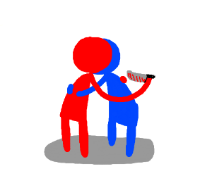 blue and red stickman