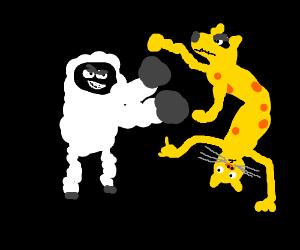 sheep punching catdog
