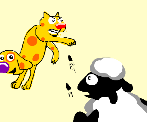 Catdog fights sheep in shootout