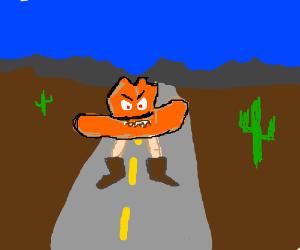 The worst orange hat on a road