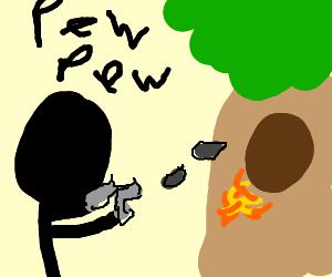 A man shoots a tree