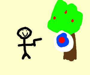 guy gonna shoot tree target