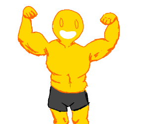 very buff yellow guy