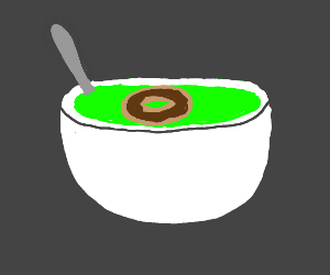 Chocolate donut in pea soup