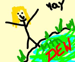 girl soaking feet in mountain dew pond