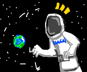 Giant astronaut finds Earth